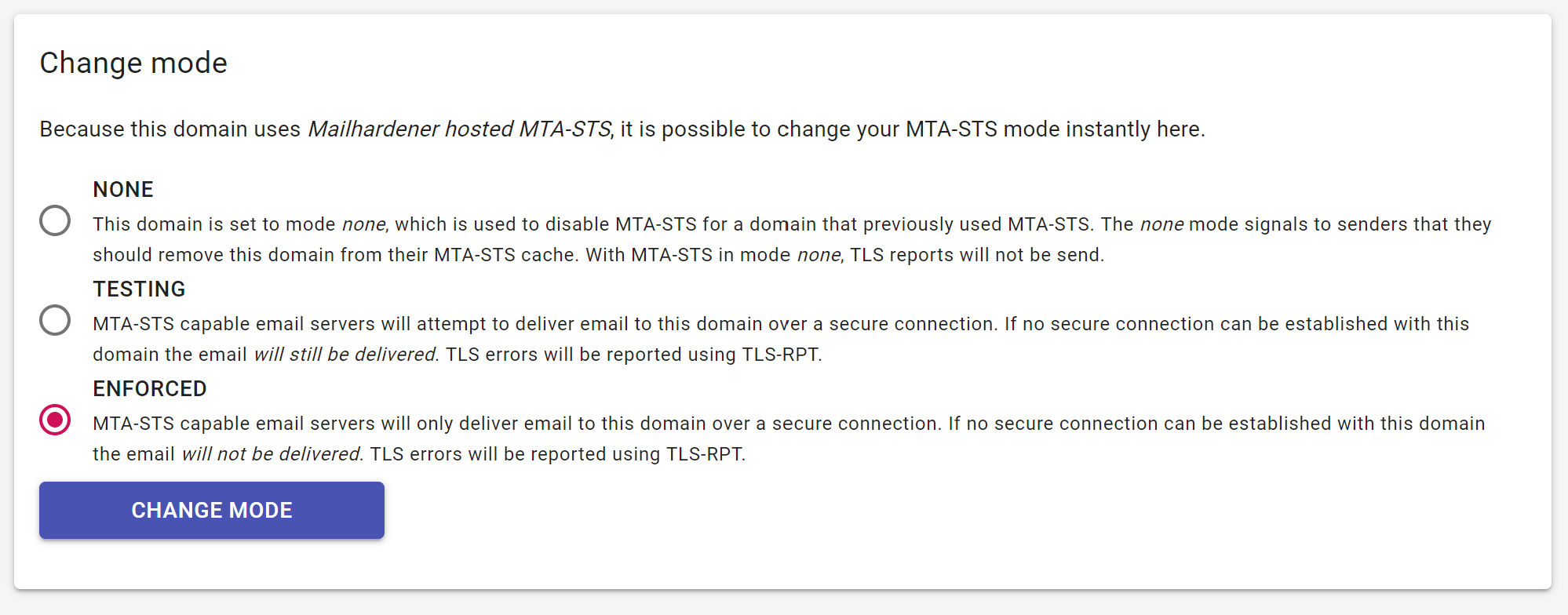 screenshot showing MTA-STS policy selection in Mailhardener dashboard